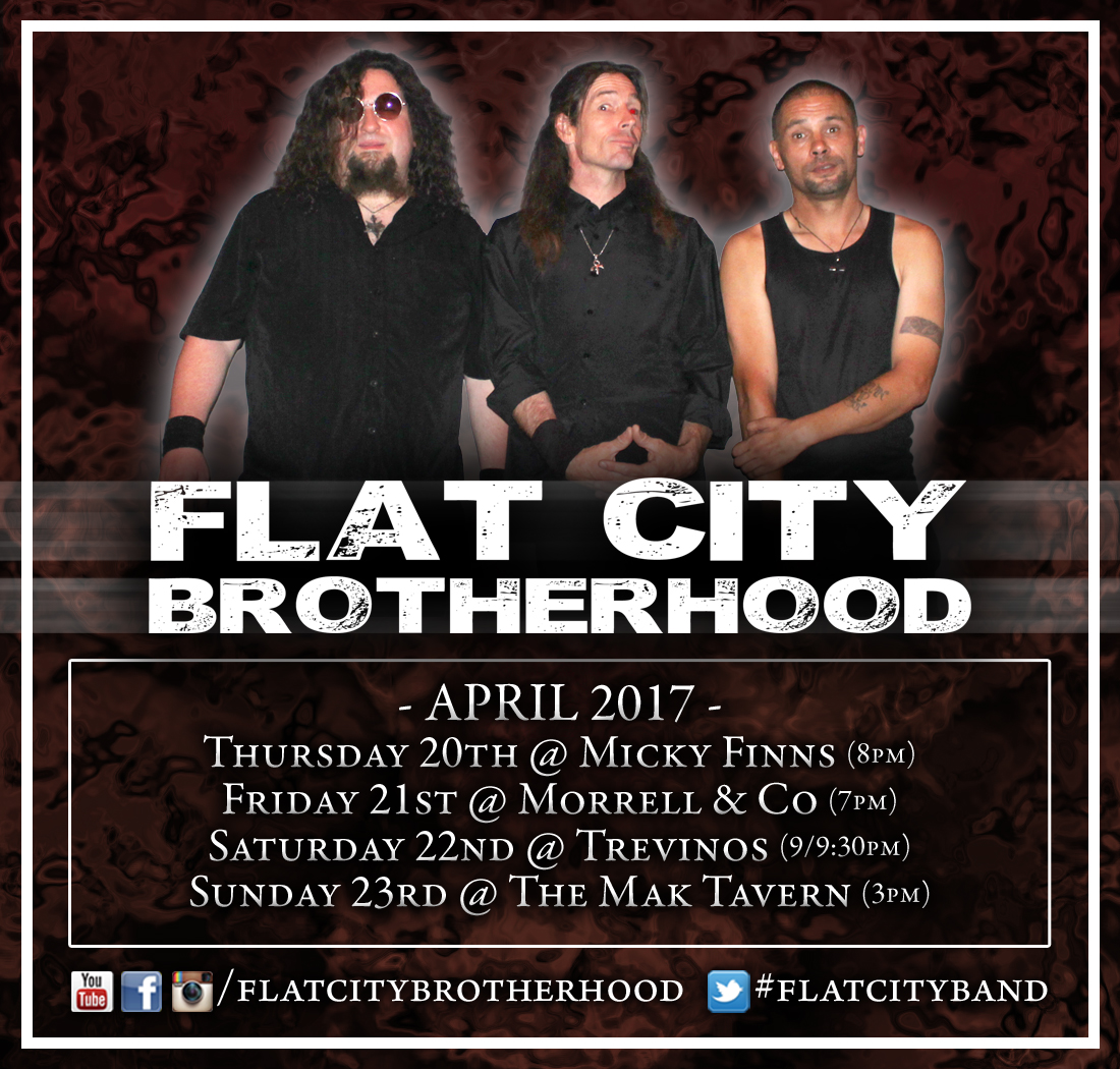 Flat City Brotherhood will be out at The Mak Tavern (that's short for Waimakariri) so why not pop down there at 3pm and come and see the band play?